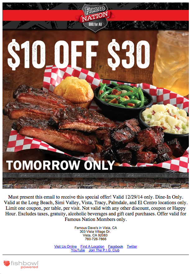 Famous Daves Email