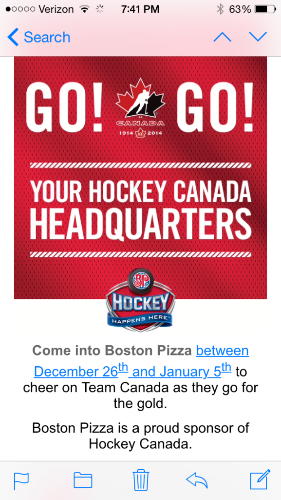 Boston Pizza Email