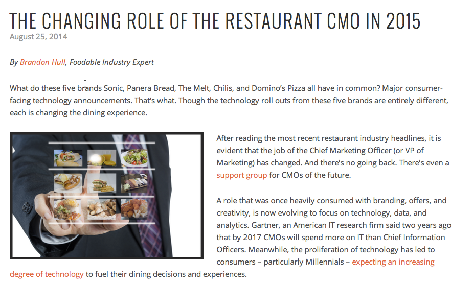 Changing Role of the Restaurant CMO