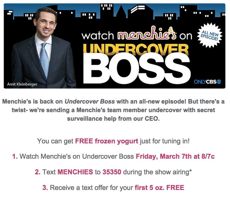 Menchie's Undercover Boss Promo