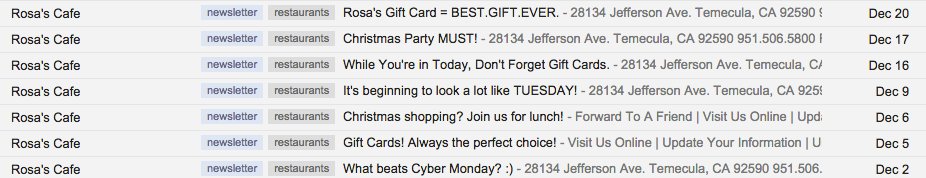Rosa's Cafe Emails