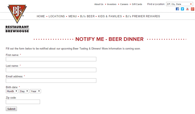 BJs Restaurant Email List Building with Events