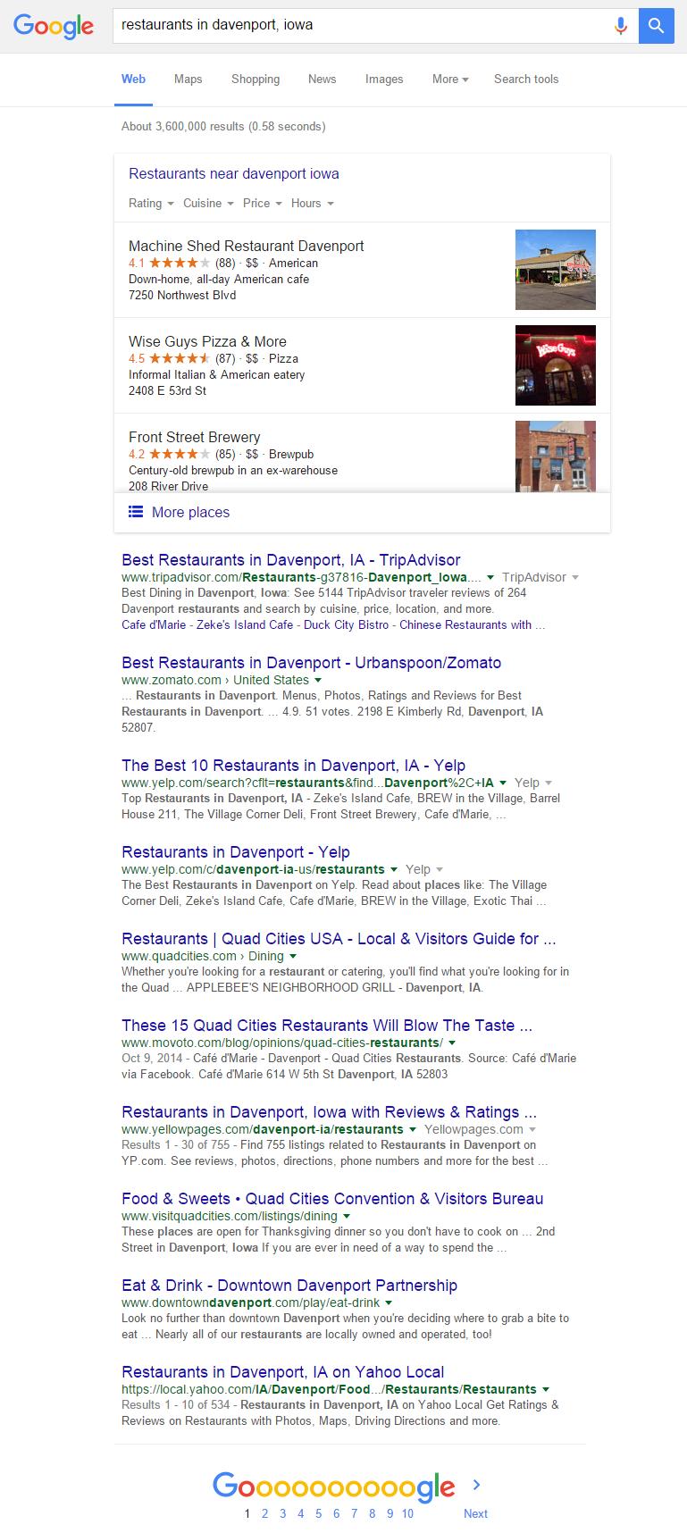 Google Restaurants Davenport Iowa