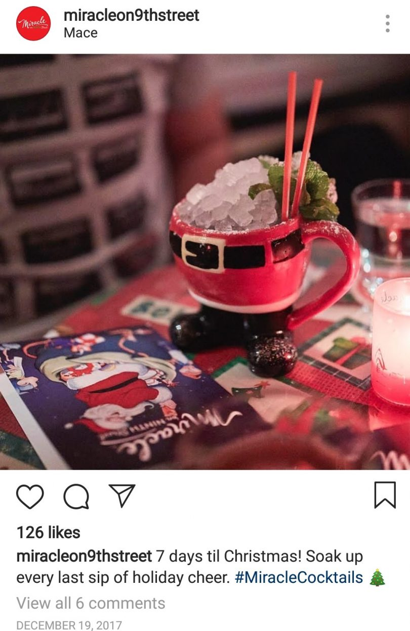 Christmas restaurant Instagram