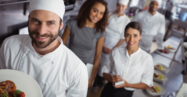 Millennial restaurant kitchen staff